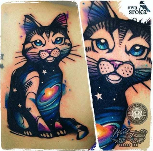 3D style painted colorful funny cat tattoo on upper back stylized with space stars and galaxy