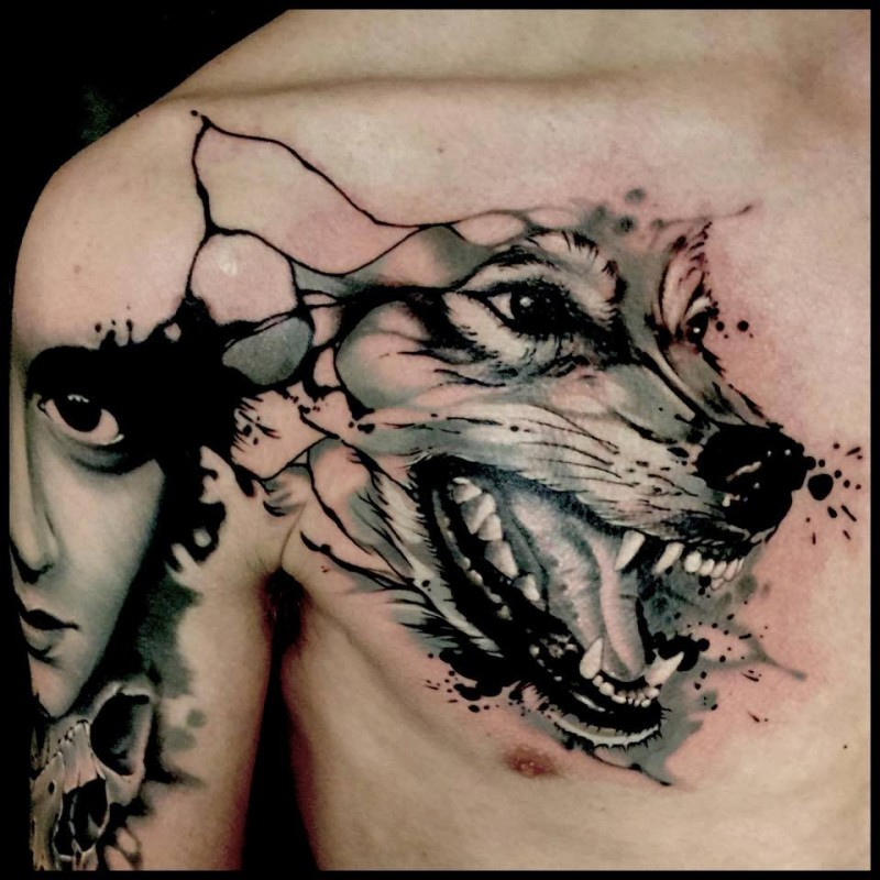 3D style realistic looking chest tattoo of angry wolf head