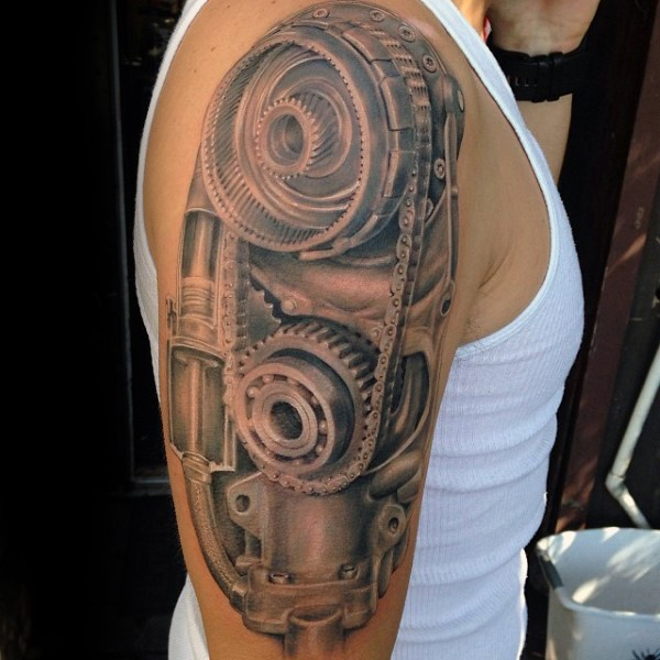 Small Engine Tattoo: 3D Style Realistic Looking Colored Shoulder Tattoo Of