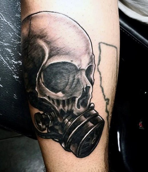 3D style realistic looking forearm tattoo of human skull with gas mask