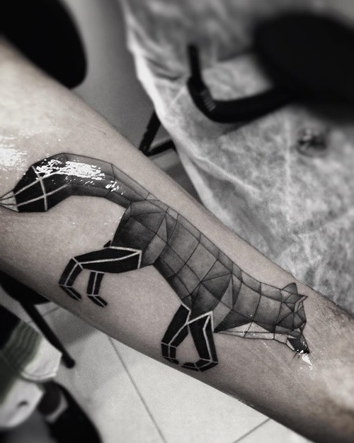 3D style slim geometrical forearm tattoo of fox
