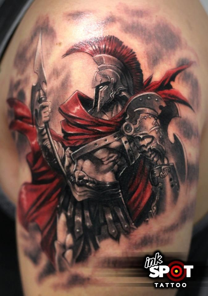 3D style superior colored very detailed shoulder tattoo on fantasy warrior