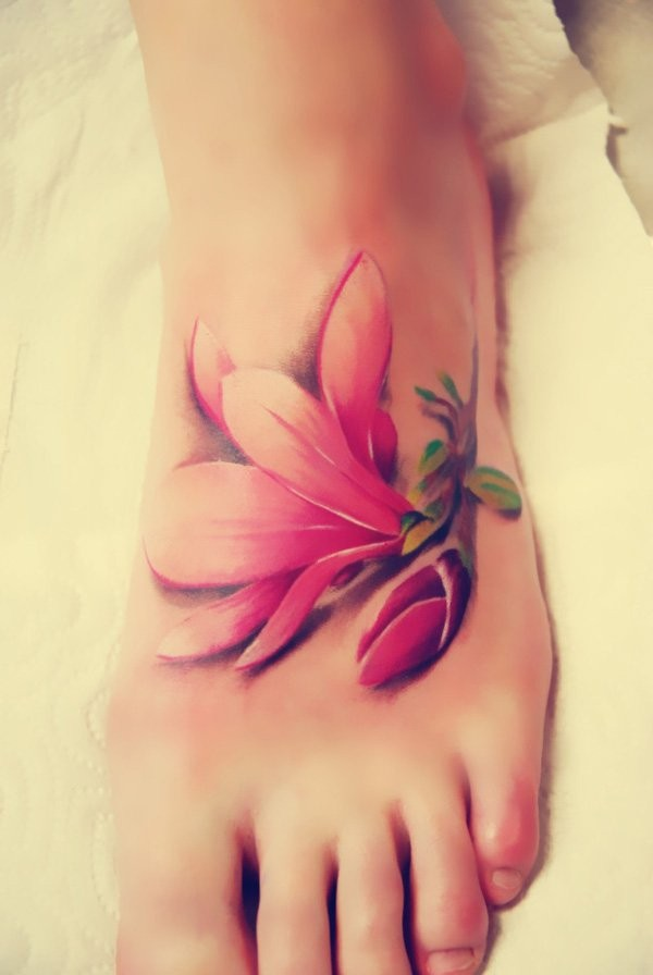 3D style very beautiful foot tattoo of sweet flower