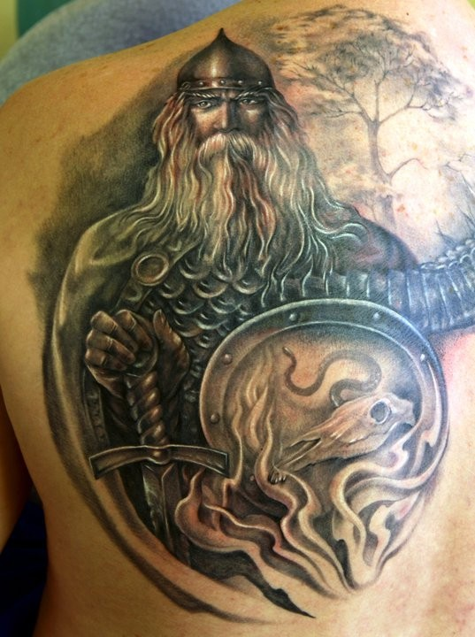 3D style very detailed and colored medieval warrior tattoo on upper back combined with lonely tree