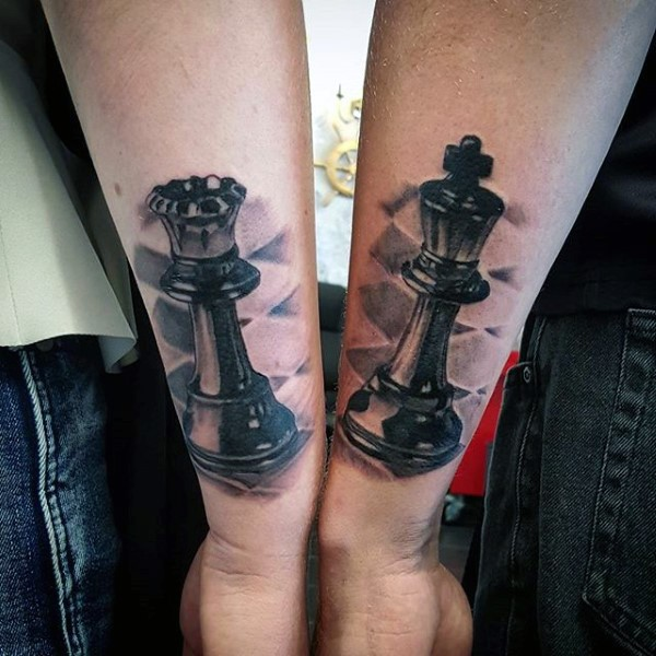3D style very detailed arm tattoo of various chess figures