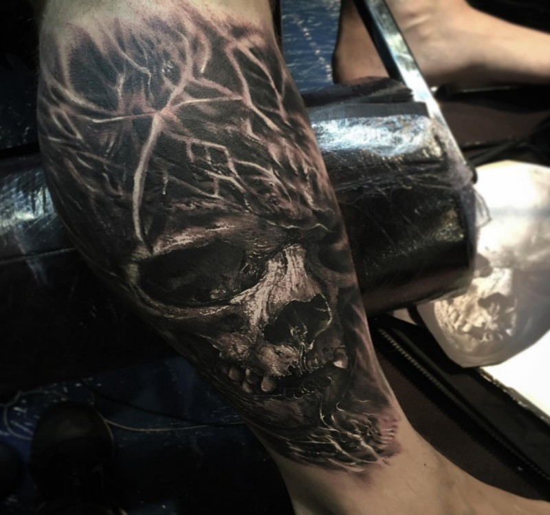 e9a2e42b85090 3D style very detailed by Eliot Kohek tattoo of human skull ...