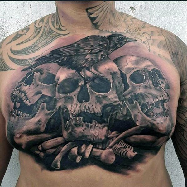 3D style very detailed chest tattoo of human skulls with crow