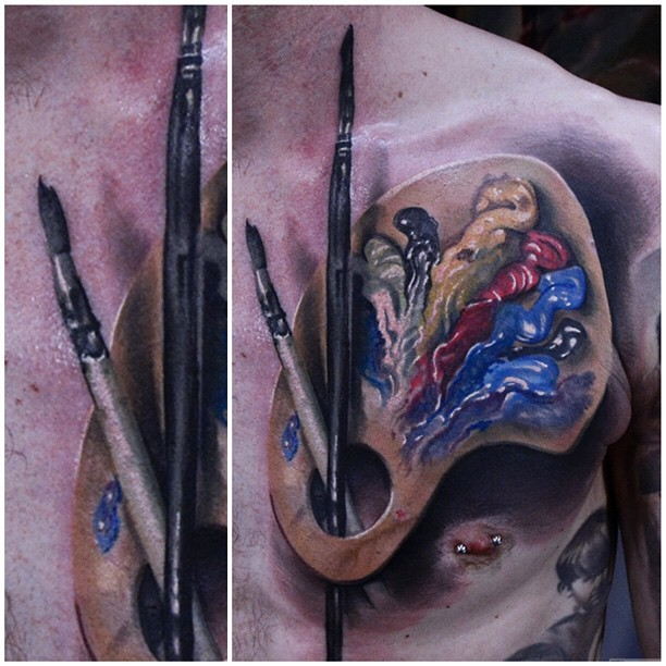 3D style very detailed chest tattoo of paint and brushes