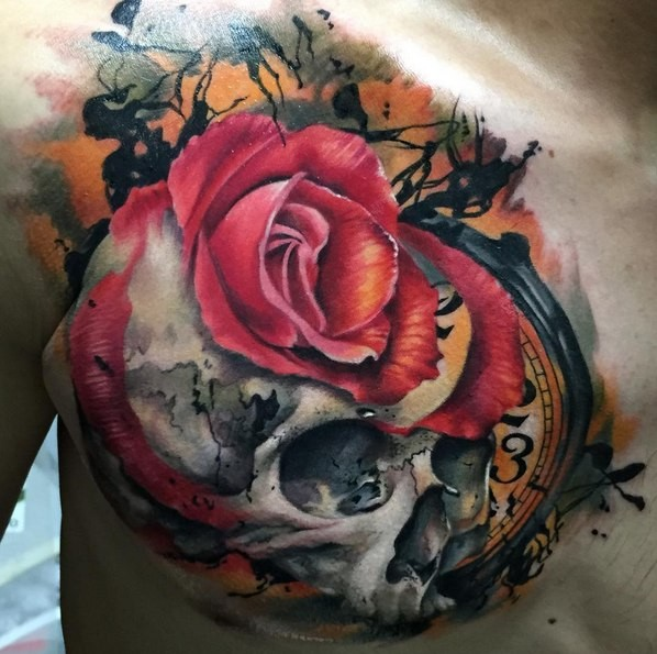 3D style very detailed chest tattoo of skull with rose and clock