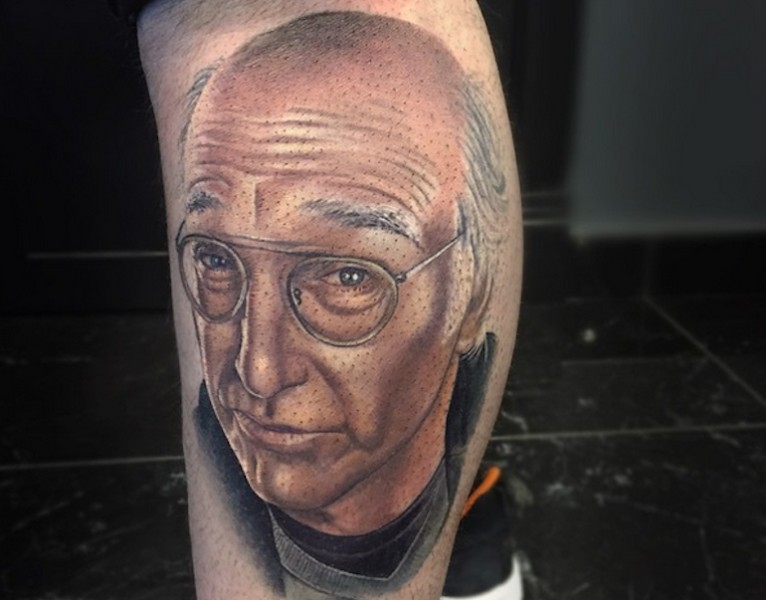 3D style very detailed colored famous actor portrait tattoo on leg