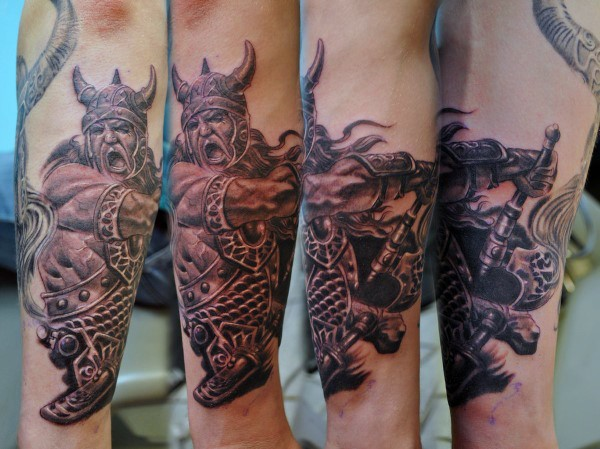 3D style very detailed forearm tattoo of viking warrior