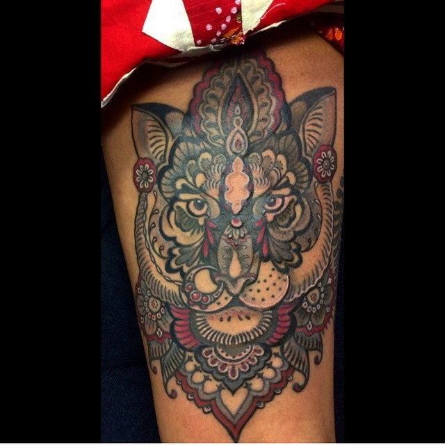 3D style very detailed massive colored forearm tattoo of beautiful floral tiger