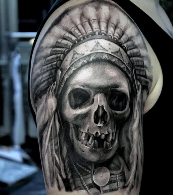 3D style very detailed shoulder tattoo of realistic looking Indian skeleton with helmet