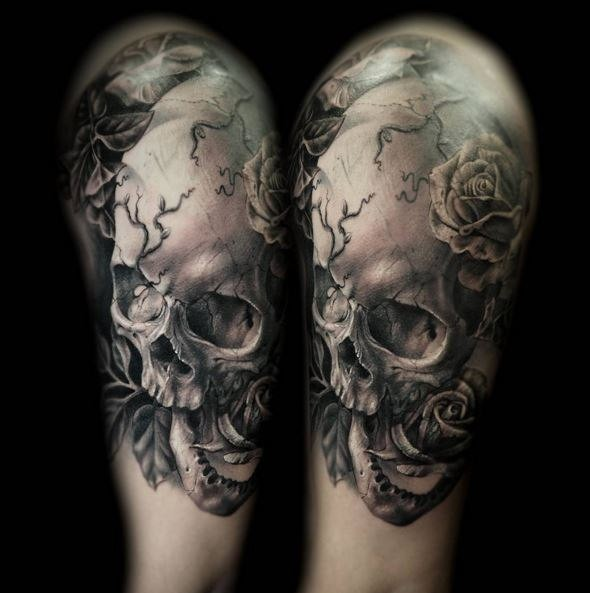 3D style very detailed shoulder tattoo of corrupted woman skeleton with roses