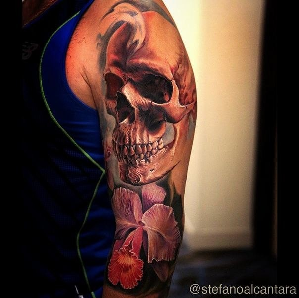3D style very detailed side tattoo of human skull with beautiful flowers