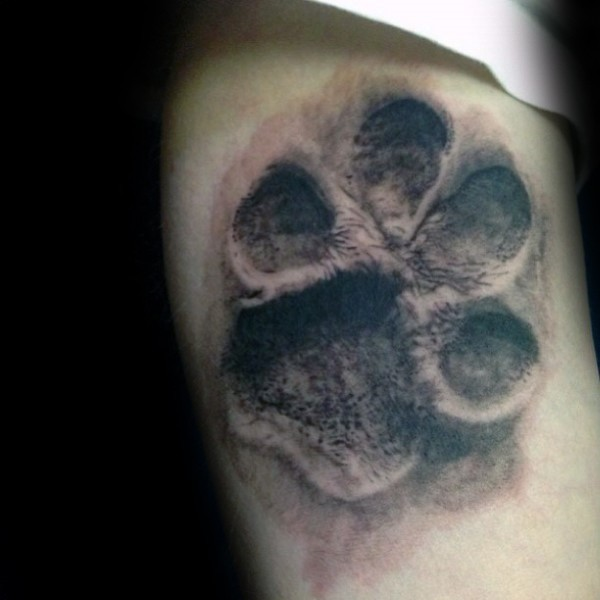 3D style very detailed tattoo of cool looking animal paw print