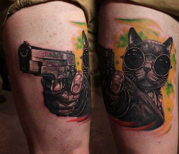 3D style very detailed thigh tattoo of cool cat with pistol