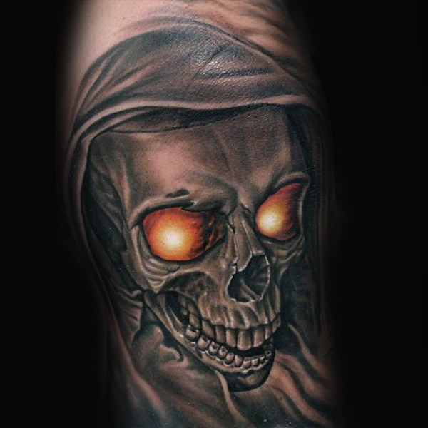 3D style very realistic looking forearm tattoo of demonic skull
