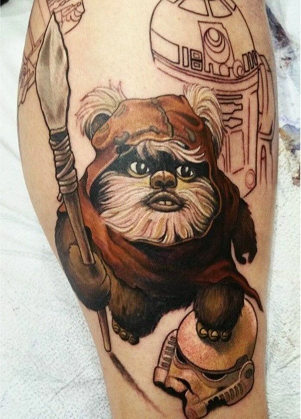 3D unfinished very detailed colored Star Wars hero tattoo on leg with Storm troopers helmet