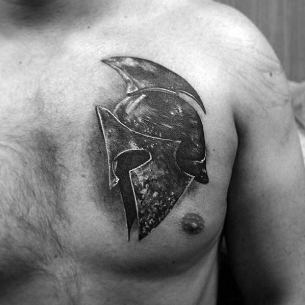 3d very detailed black and white antic warrior helmet tattoo on chest
