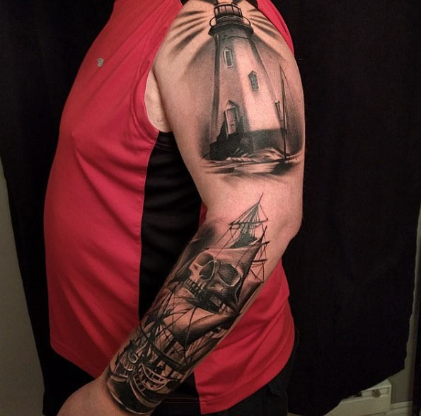 3D very detailed black and white lighthouse tattoo on sleeve combined with pirate sailing ship