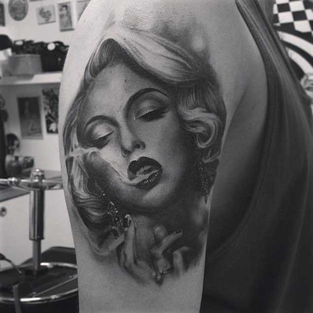 3D very detailed black and white shoulder tattoo of smoking seductive woman portrait