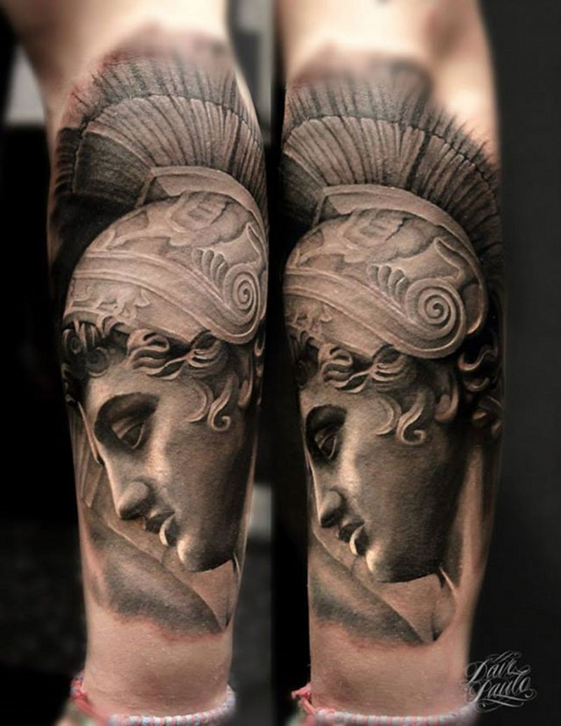 3D very detailed black ink forearm tattoo of antic statue