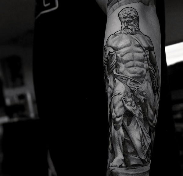 3D very detailed colored antic statue tattoo on forearm area