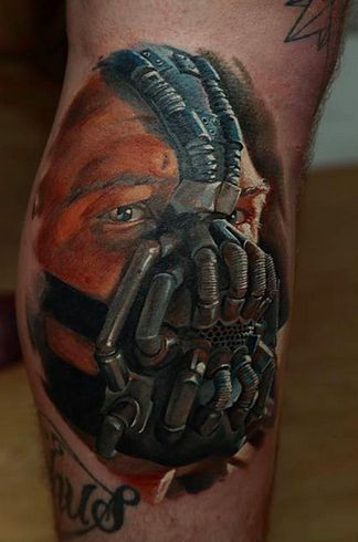 3D very detailed colored Bane portrait tattoo on leg
