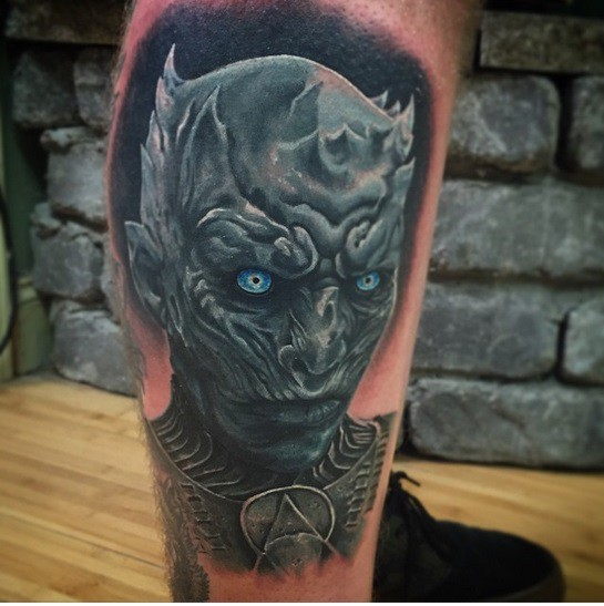 3D very detailed colored Game of Thrones hero tattoo on leg