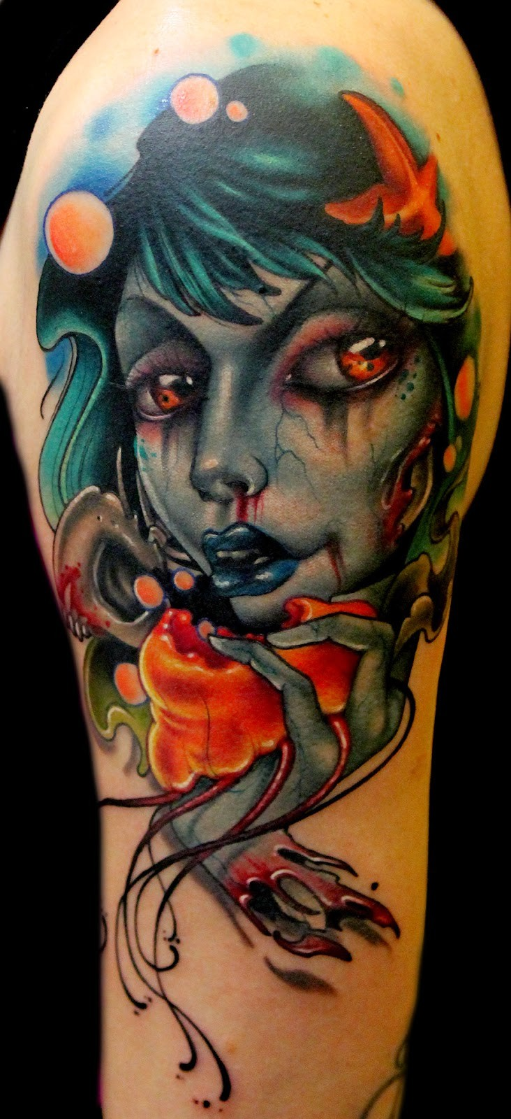 3D very detailed colored in shoulder tattoo of evil witch with skull