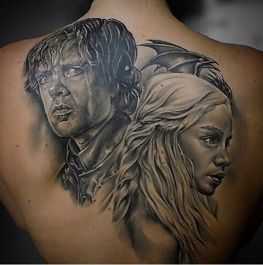3D very detailed colored upper back tattoo of Game of Thrones heroes