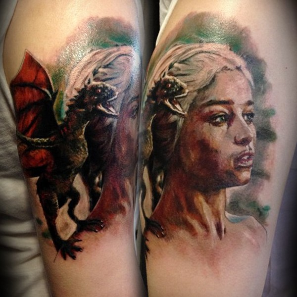 3D very detailed colorful Game of thrones woman hero portrait with dragon tattoo on arm