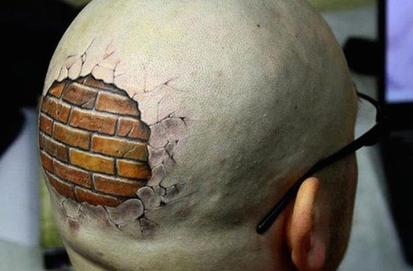 3D very detailed corrupted head tattoo stylized with brick wall