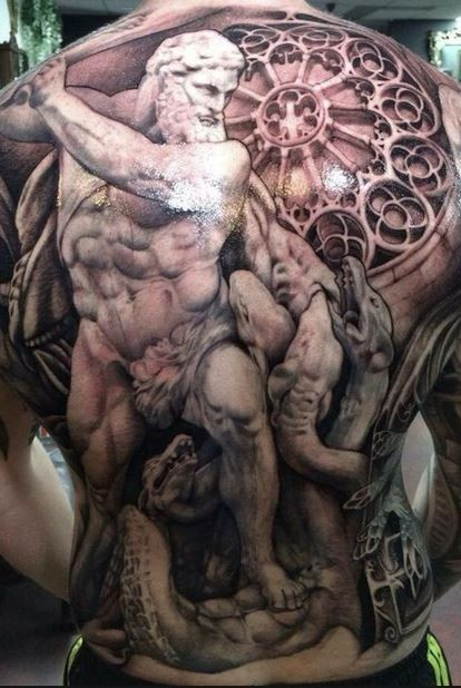 3D very detailed incredible painted massive black ink antic style tattoo on whole back