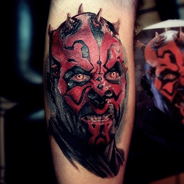 3D very detailed natural looking tattoo of Sith evil warrior