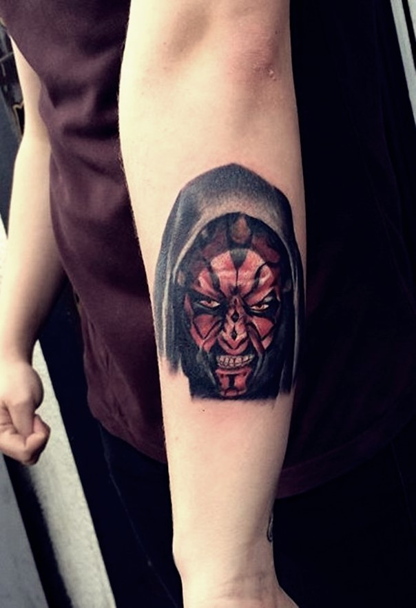 3D very detialed cool colored angry Darth Maul portrait tattoo on forearm