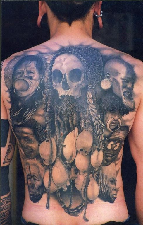 3D very realistic black and white detailed various tribes people tattoo on whole back