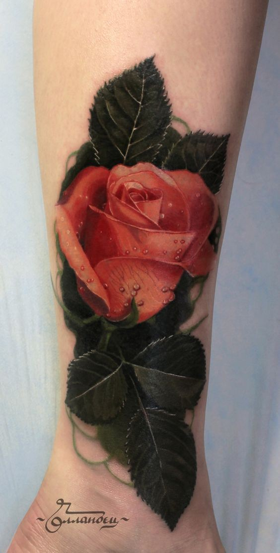 3D very realistic colored rose with water drops tattoo on leg