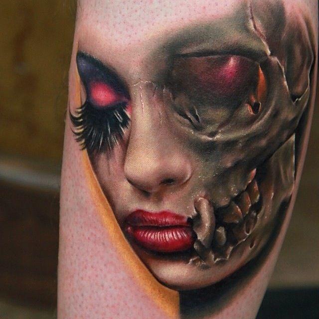 """3D molto realistico raccapricciante meta"""" cranio meta"""" faccia tatuaggio su gamba"""