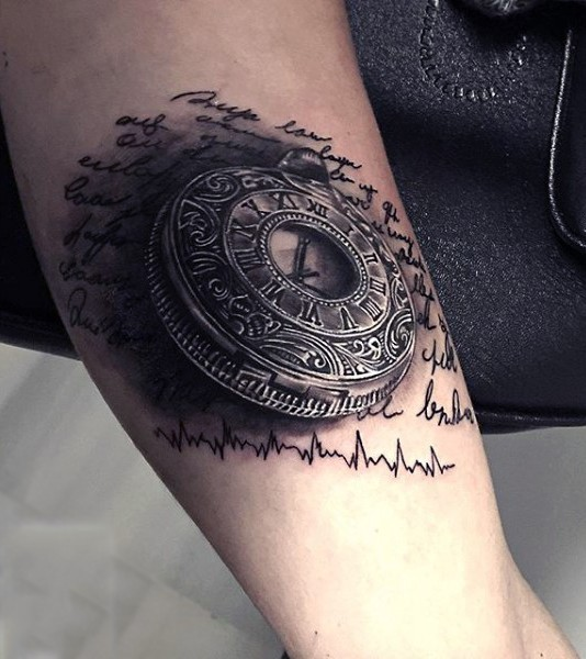 3D very realistic looking impressive antic clock with lettering tattoo on arm