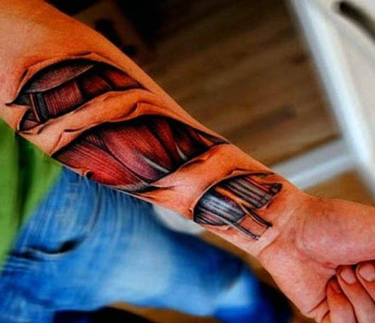 3D very realistic looking ripper skin with muscles tattoo on arm