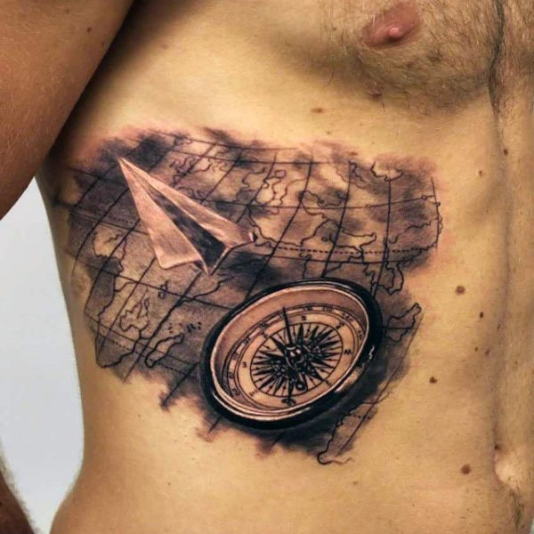 3d very realistic looking world map with compass and paper plane 3d very realistic looking world map with compass and paper plane tattoo on side gumiabroncs Image collections