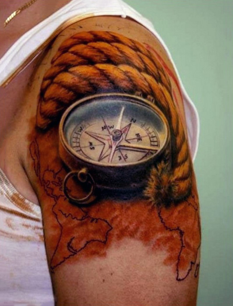 3D very realistic natural looking colored compass with rope and map upper arm tattoo