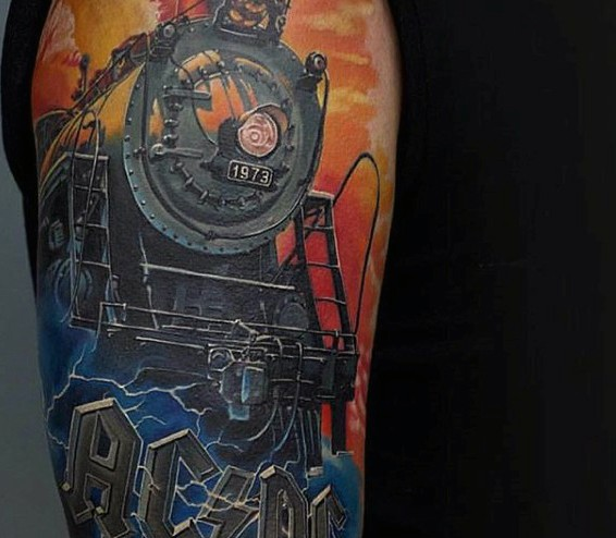 3D very realistic old steamy train tattoo on arm with lettering AC/DC