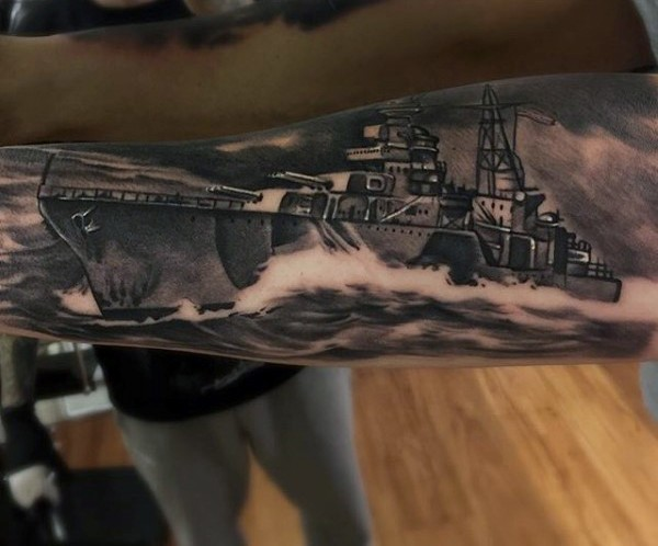 3D very realistic painted black and white big military tattoo on arm