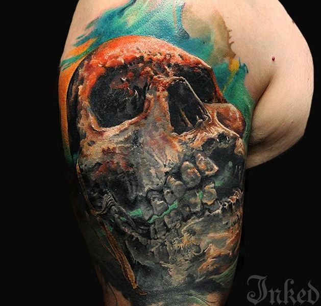 3d watercolor skull tattoo on shoulder