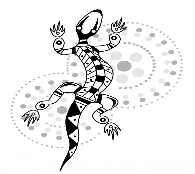 Aboriginal black-ink tribal lizard on grey spotted background tattoo design