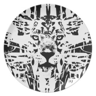 Abstract black-ink jaguar head with interesting background in circle frame tattoo design