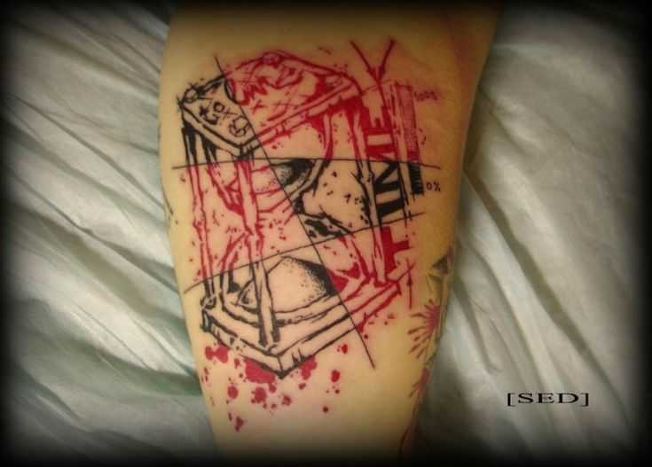 Abstract black red hourglass tattoo